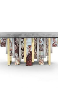Messi House Celebrity Homes: Messi House in Barcelona heritage table dining table glass dining table portuguese tiles boca do lobo large dining table 200x300