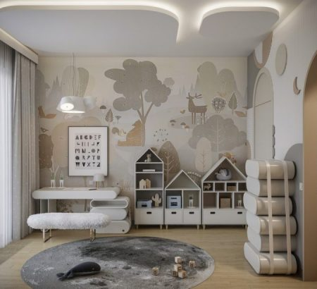 Kids Bedroom Ideas to Sleep in the Clouds Cloudy Kids Bedroom Design with Modern Elements 3 768x615 1 450x410