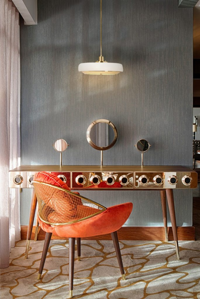 mid-century modern mansion You will Love this Mid-Century Modern Mansion in Oporto Image 10 The Perfect dressing corner with Carter Pendant Lamp scaled