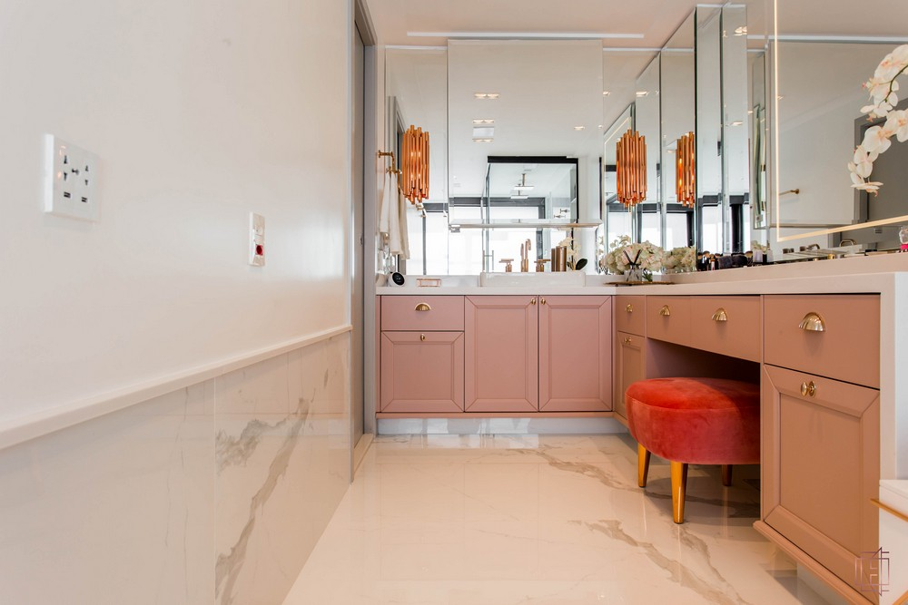 electrix studio Electrix Studio's Luxury Penthouse Project Image 5 Master Bathroom with rose gold accents