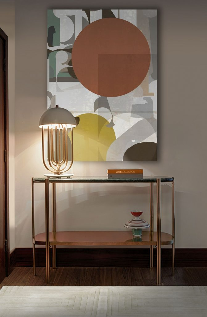 mid-century modern mansion You will Love this Mid-Century Modern Mansion in Oporto Image 7 Entryway With Turner Table s electric vibes scaled