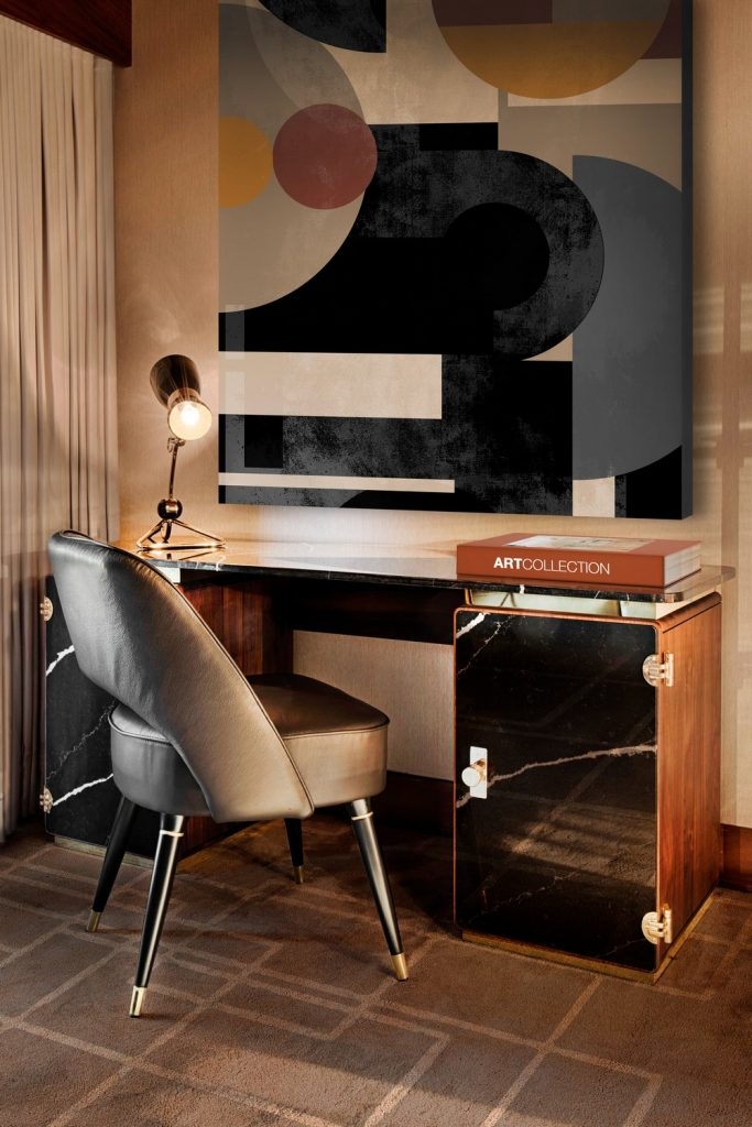mid-century modern mansion You will Love this Mid-Century Modern Mansion in Oporto Image 8 Sober Office Space With The Iconic Amy Table Lamp scaled