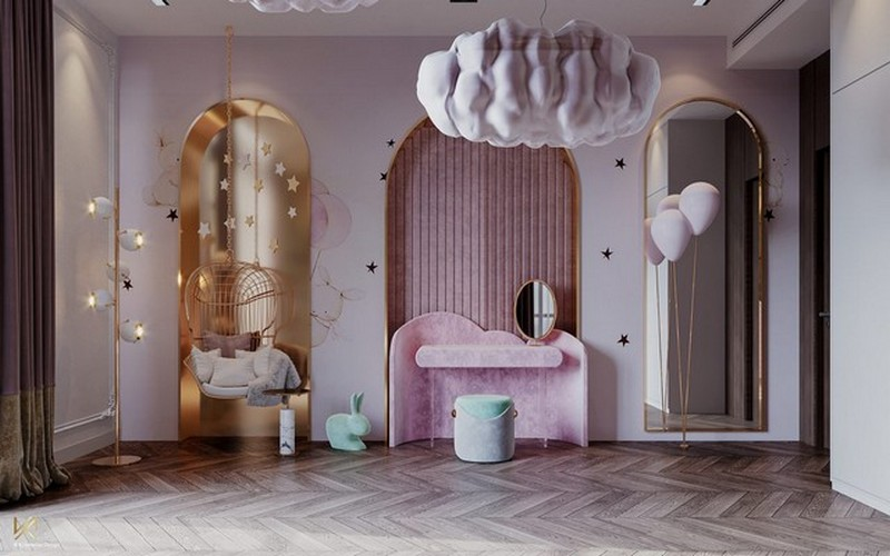 modern classic girls' room design Modern Classic Girls' Room Design LUXURY GIRLS ROOM IN A CLOUDY SKY BE A GOLDEN STAR 3
